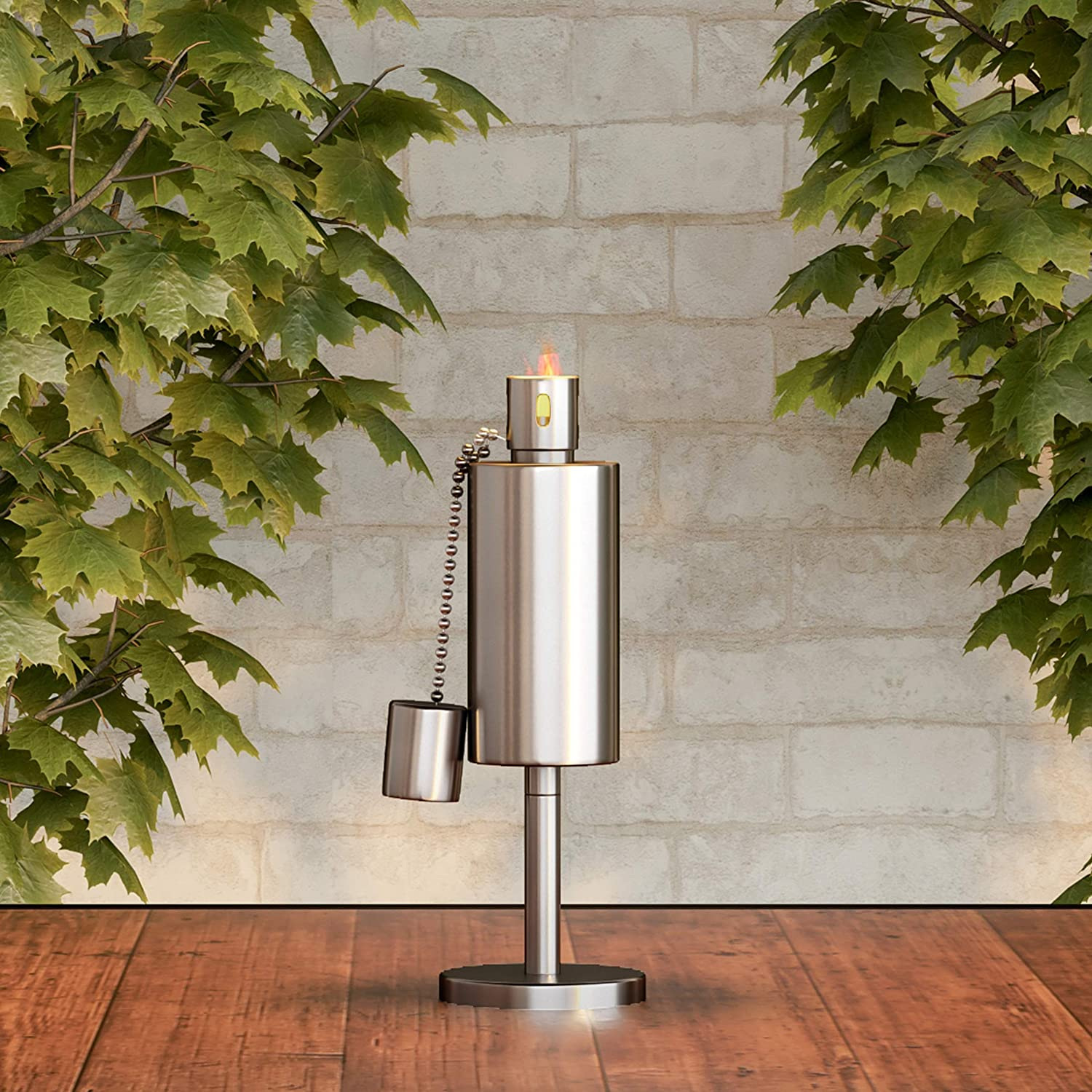 """Pure Garden 50-221 Tabletop Torch Lamp-10.5"""" Stainless Steel Outdoor Fuel Canister Flame Light for Citronella with Fiberglass Wick for Backyard, Patio"""