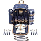 Andrew James Picnic Hamper Backpack Bag for 4 People with Fleece Tartan Blanket and Cooler Compartment - 32 Piece Set including Plates Wine Glasses Cutlery - Perfect to Use with Picnic Baskets