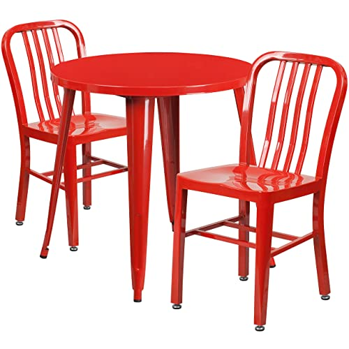 Flash Furniture 30 Round Red Metal Indoor-Outdoor Table Set with 2 Vertical Slat Back Chairs