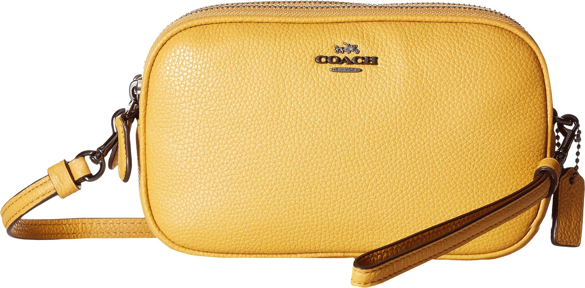 COACH Women's Pebbled Leather Crossbody Clutch Dk/Yellow Gold One Size