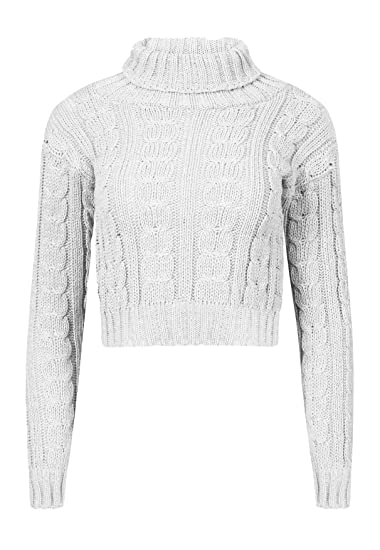eb799caf41f42c Rimi Hanger Womens Polo Neck Cable Knitted Crop Jumper Ladies Long Sleeve  Fancy Sweater Top S