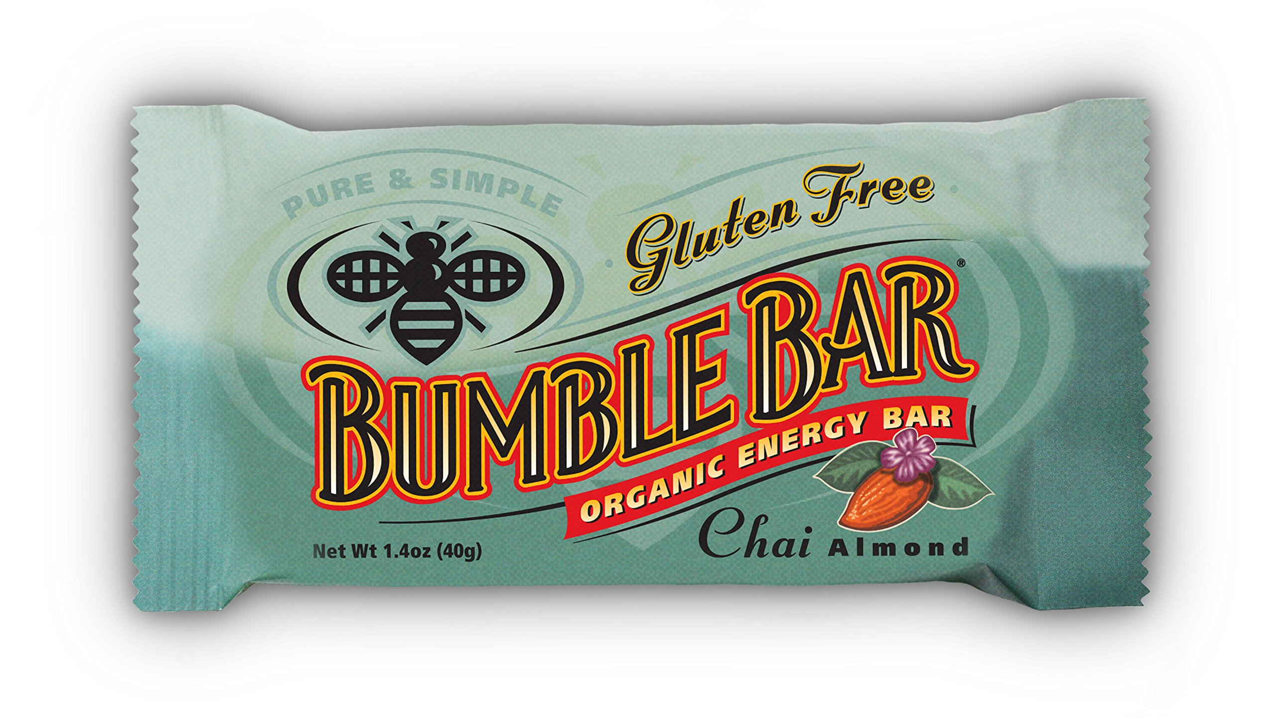 BumbleBar Gluten Free Organic Energy Chai with Almonds, 1.4-Ounce Bars (Pack of 12)