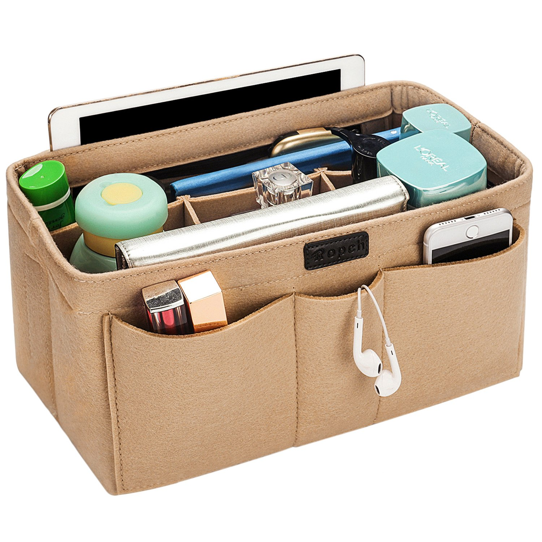 Ropch Women Handbag Organizer, Portable Multi-function Insert Pouch Bag in Bag Felt Insert Organizer, Beige, M