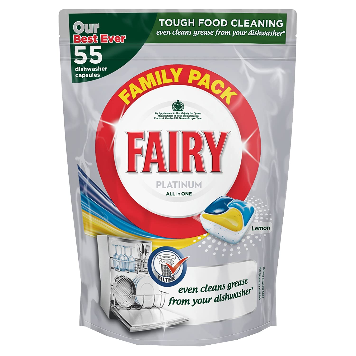 Fairy Platinum All In One Lemon Dishwasher 55 Tablets   Pack Of 4:  Amazon.co.uk: Health U0026 Personal Care