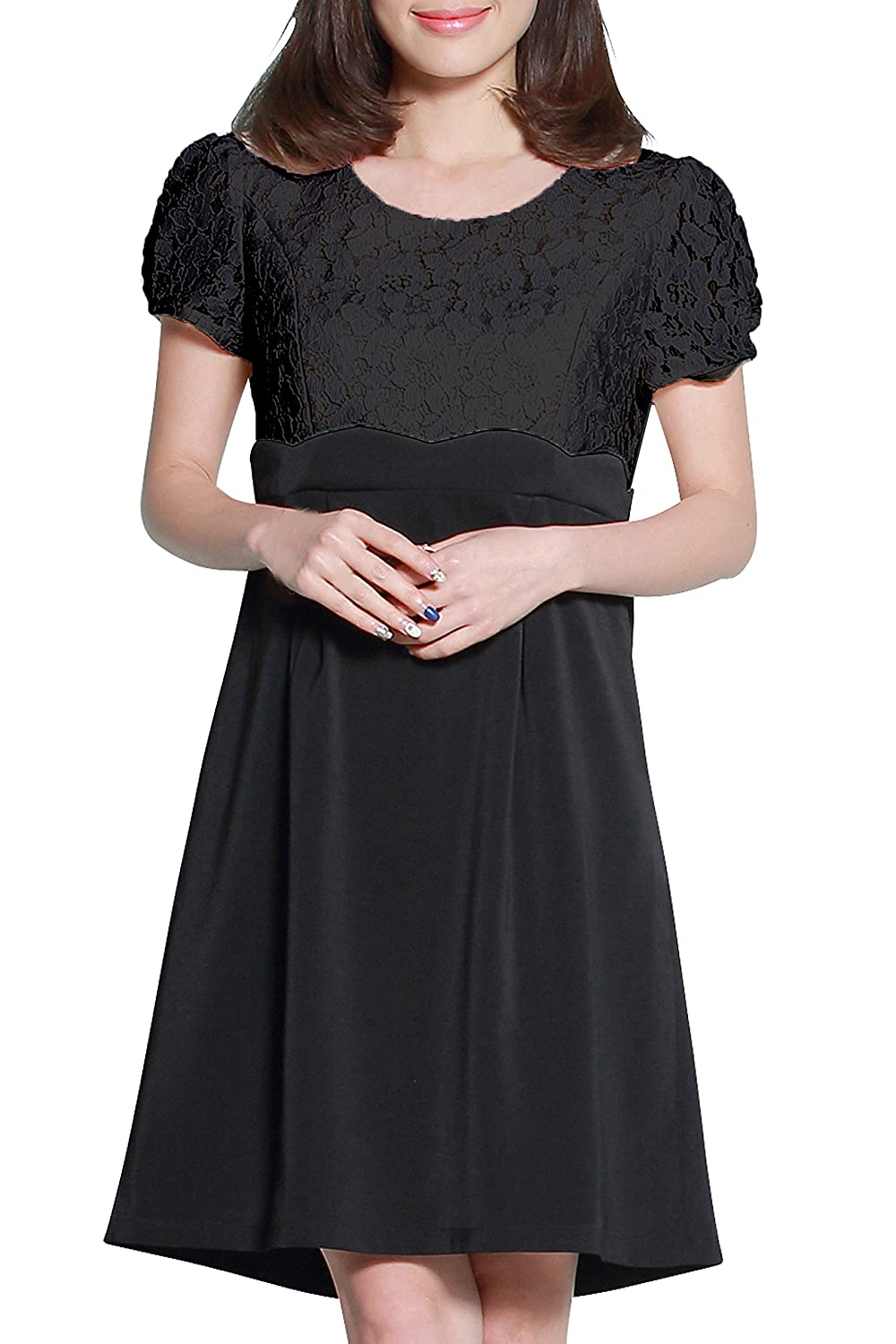 Sweet Mommy Maternity and Nursing Scalloped Lace Short Sleeve Dress Sweet Mommy Co. Ltd. so5103
