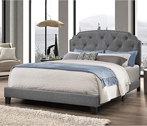 DG Casa Wembley Tufted Upholstered Panel Bed Frame with Nailhead Trim Headboard, Queen Size in Grey Linen Style Fabric
