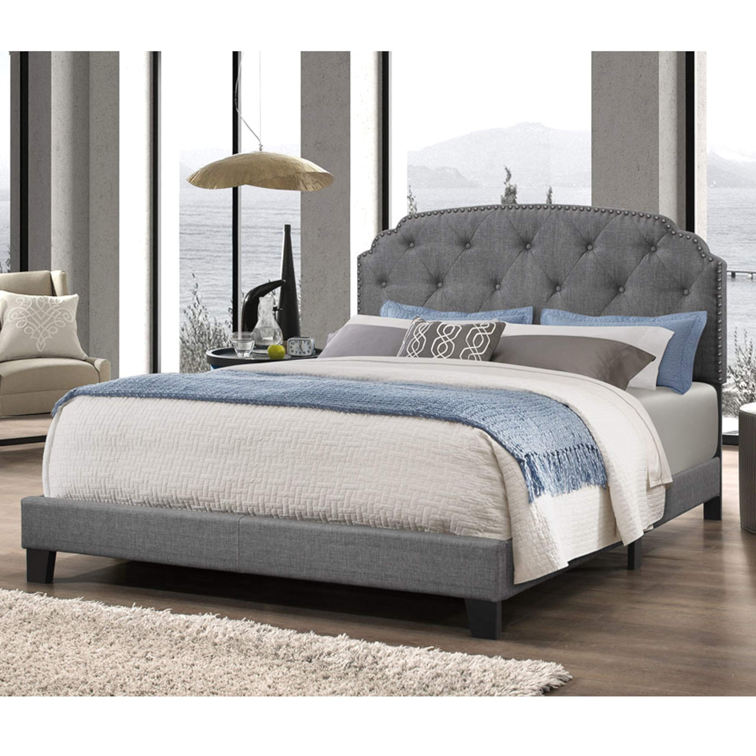 DG Casa 9850-Q-GRY Wembley Tufted Upholstered Panel Bed Frame with Nailhead Trim Headboard, Queen Size in Grey Fabric