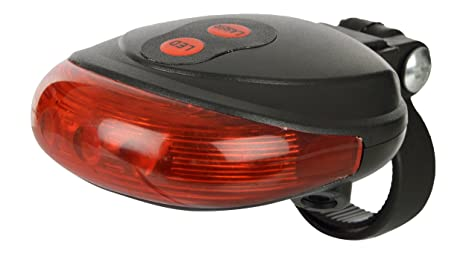 Dark Horse Plastic Bicycle 7 Mode 5 LED Bright Tail Light with 2 Laser Beams  Red  Rear Light Assemblies