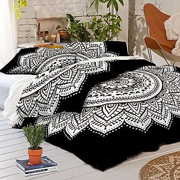 madhu black white mandala king size duvet cover 100 cotton handmade indian mandala