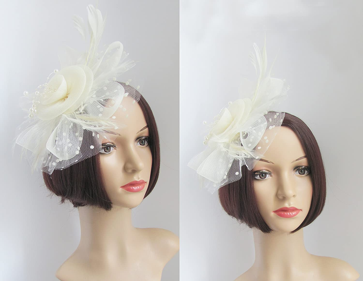 Flower Cocktail Tea Party Headwear Feather Fascinators Top Hat for ...