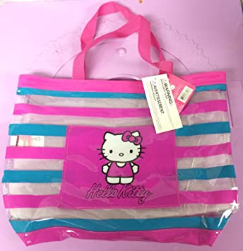 930982277b4 Amazon.com   Hello Kitty Tote Bag Beach Pink Blue Clear See Through   Beauty