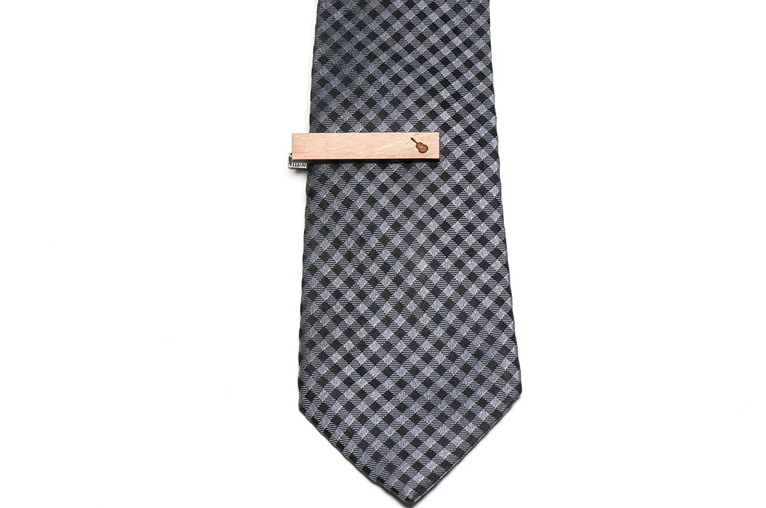 Wooden Accessories Company Wooden Tie Clips with Laser Engraved Instrument Design Cherry Wood Tie Bar Engraved in The USA