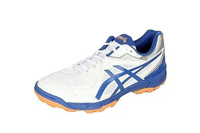 ASICS Men's Gel-Peake 5 White, Olympian Blue and Hot Orange Cricket Shoes -