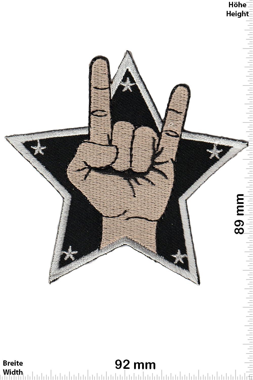 star Aufn/äher Embleme B/ügelbild Aufb/ügler Patch-Iron-Mudra Metal Sign Iron On Patches Pommesgabel - Oldschool Musik