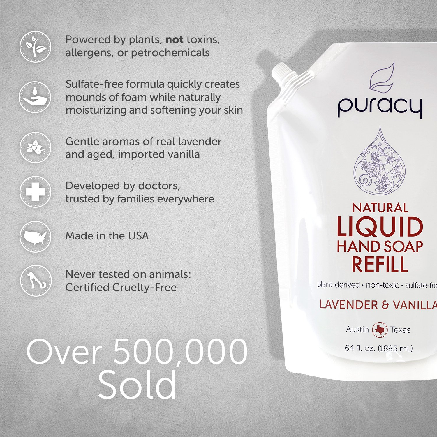 Puracy Natural Liquid Hand Soap Refill, Sulfate-Free Gel Hand Wash, Lavender & Vanilla, 64 Ounce by Puracy (Image #3)