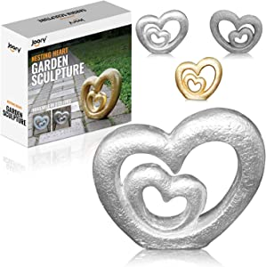 """JOORY Nesting Hearts Garden Sculpture – Cast Stone Garden Statue for Patio, Backyard and Outdoor Decor – Weather Resistant Lawn Ornament and Wedding Decoration (13.4"""" x 12.2"""" x 3.15"""")"""