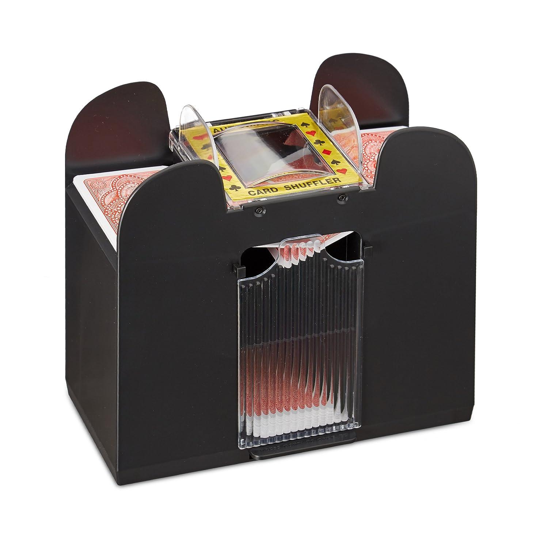 Relaxdays Kartenmischer elektrisch, 6 Decks, batteriebetrieben, Kartenmischmaschine, f. Pokern, Rommé und Skat, schwarz Rommé und Skat 10021345