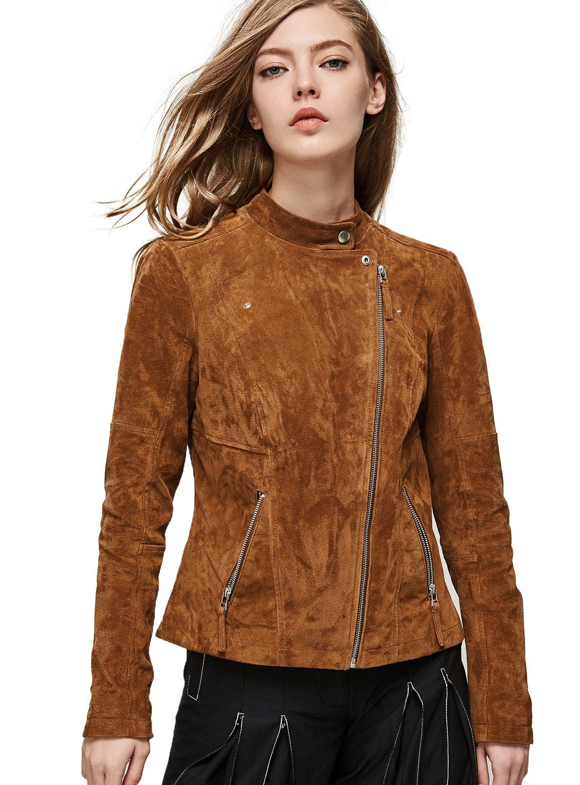 Escalier Women`s Genuine Leather Jacket Zipper Suede Moto Biker Coat Coffee L