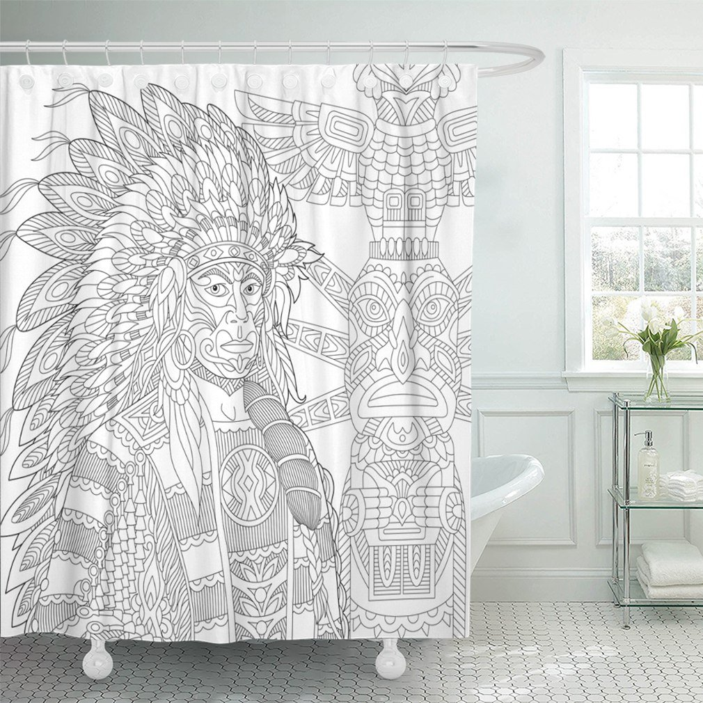 Emvency 72x78 Shower Curtain Waterproof Red Indian Chief Redskin Man Wearing Traditional Headdress Freehand Sketch For Adult Home Decor Polyester Fabric