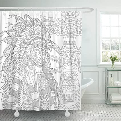 Emvency 72quotx78quot Shower Curtain Waterproof Red Indian Chief Redskin Man Wearing Traditional Headdress