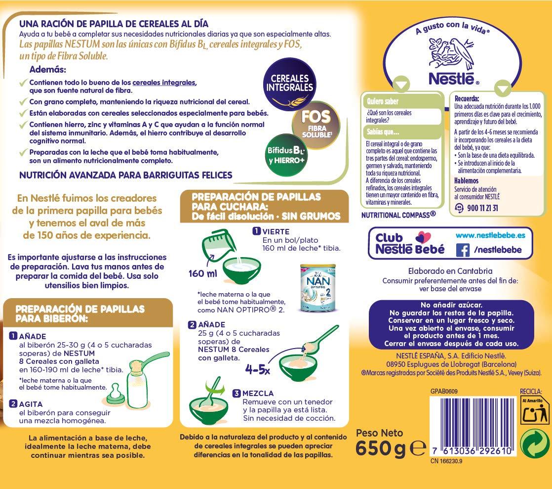 Nestlé Papillas NESTUM Cereales para bebé con galleta - 3 papillas de 650g -Total 1950g: Amazon.es: Alimentación y bebidas