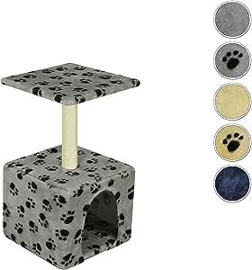 VidaPets Cat Scratching Post 55 cm, Paw Prints, Grey