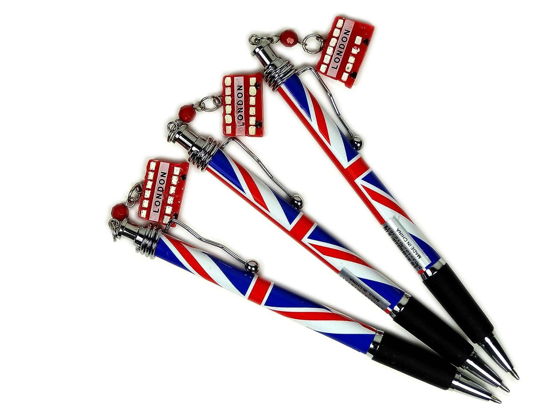 Penne a sfera con ciondolo bus rosso, motivo a Union Jack e clip in argento, souvenir da collezione di Londra, confezione da 3 penne London Gifts Store