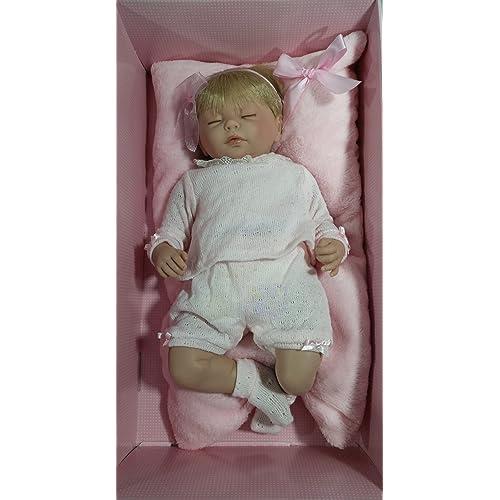 GUCA  - Muñeca Baby Reborn Valeria Pelo Rubio, Traje Lana perlé Rosa 46 cm