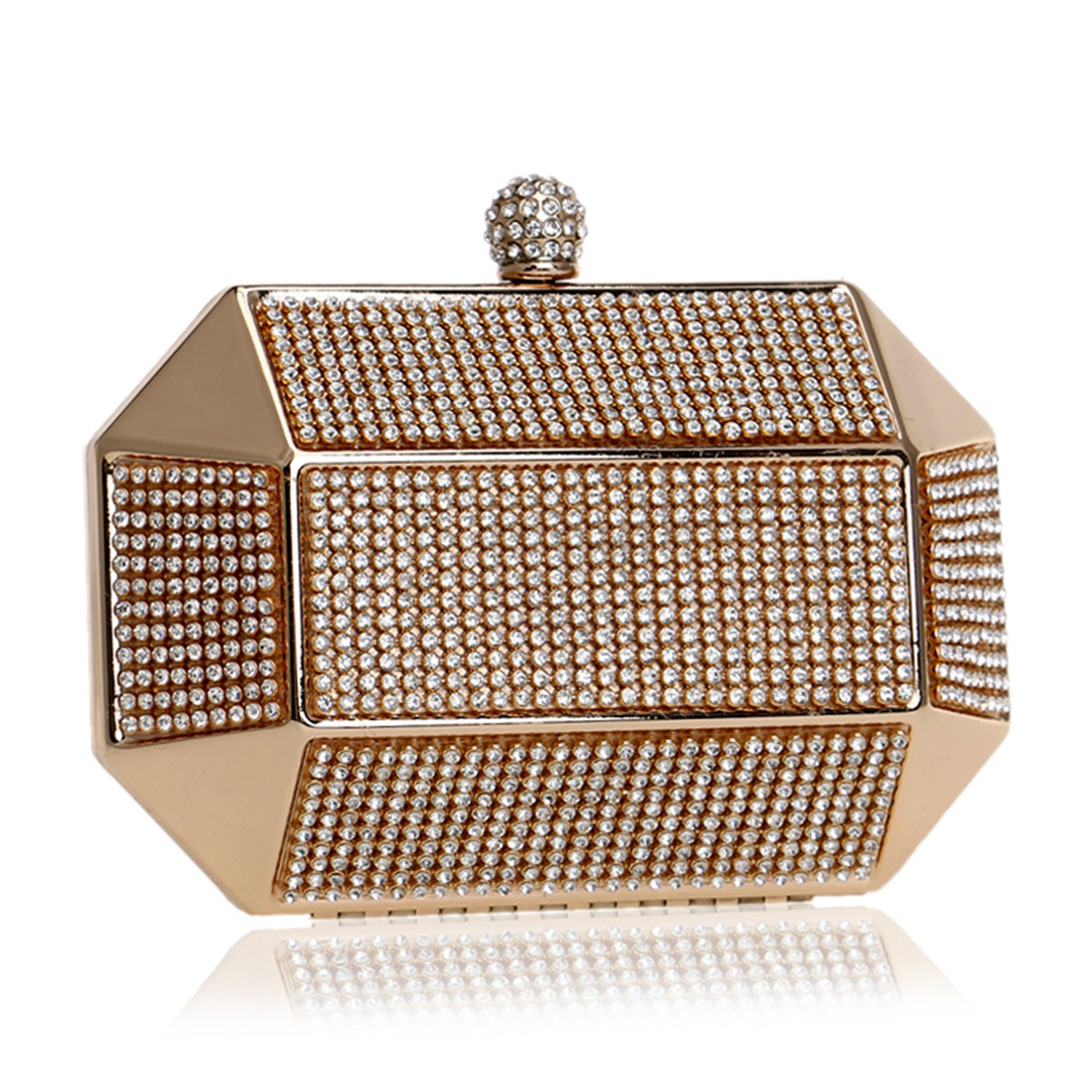 Women Evening Bags Metal Fashion Luxurious Lady Clutch Crystal Chain Shoulder Handbags For Wedding Party