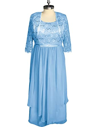 JINGDRESS Plus Size Evening Gowns for Mother Two Piece Blue 2