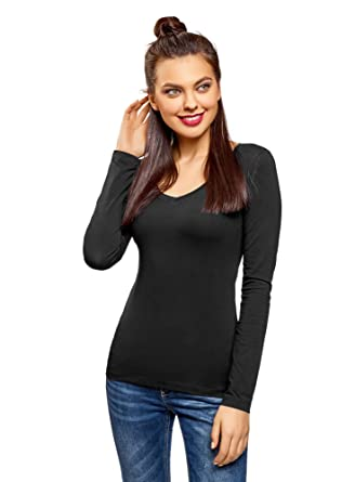 e6130b1b1229 oodji Collection Femme T-Shirt Col V sans Étiquette (Lot de 2 ...