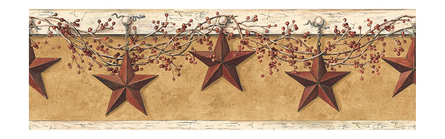 York Wallcoverings Best Of Country HK4663BD Hanging Star Border, Mustard/Cream
