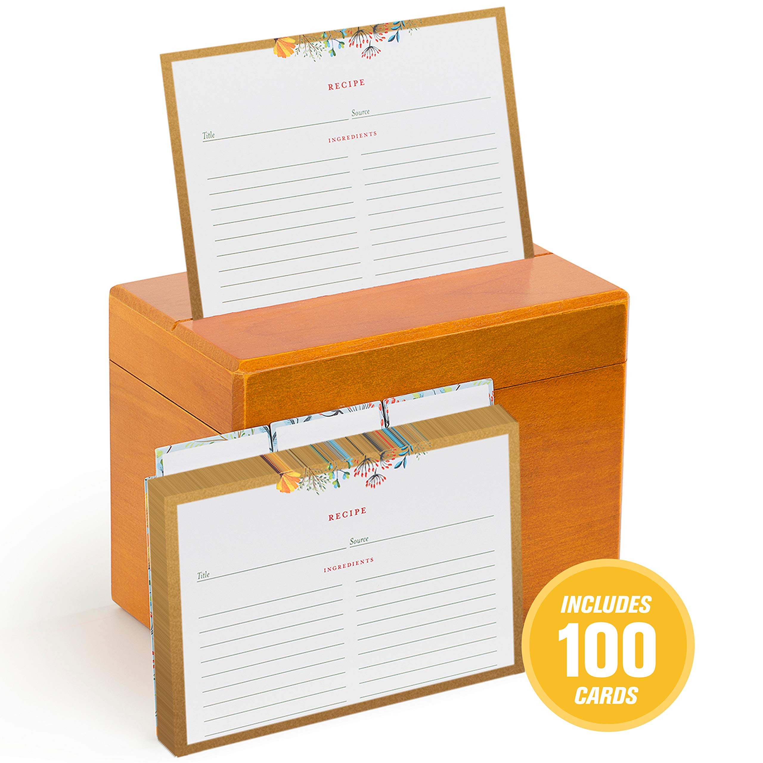 Fresh & Lucky Recipe Box with 100 Recipe Cards - 4x6 Recipe Cards with Dividers - Floral Recipe Cards with Gold Border