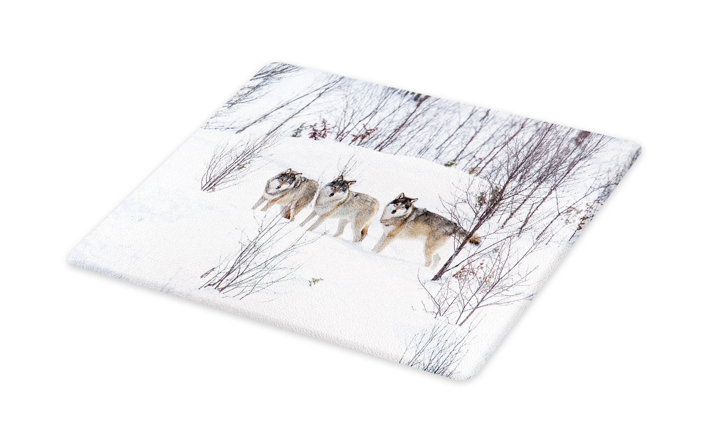 Lunarable Winter Cutting Board, Wild Wolves Walking on The Snowy Valley Northern Scandinavian Wilderness Animals Design, Decorative Tempered Glass Cutting and Serving Board, Large Size, White