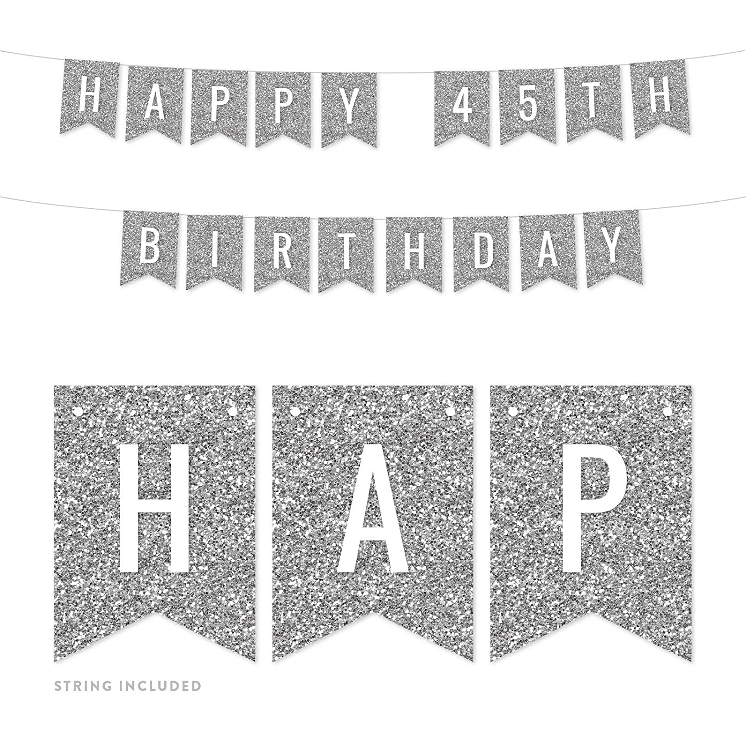 Andaz Press Faux Silver Glitter Birthday Party Banner Decorations, Happy  45th Birthday, Approx