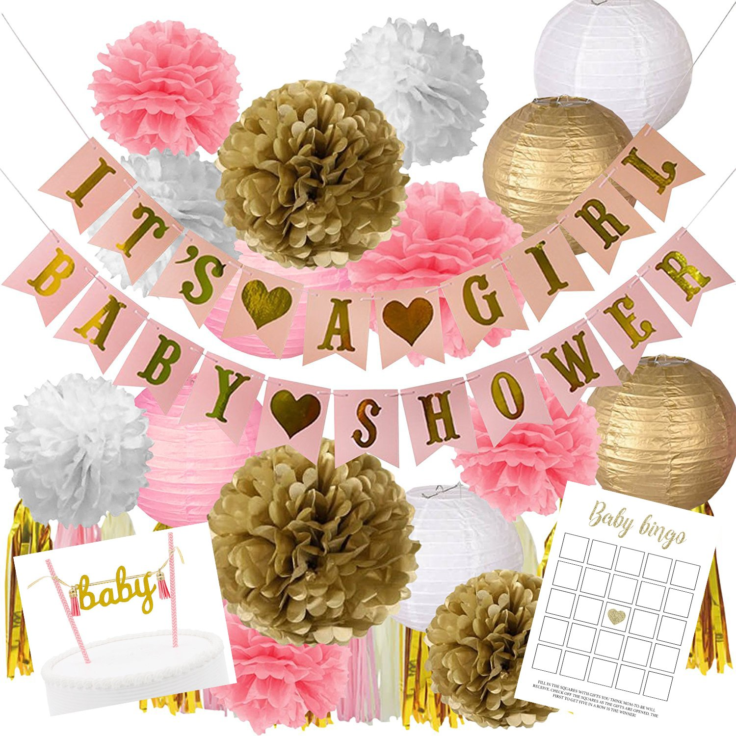 Pink And Gold Baby Shower Decorations For Girl | BONUS Baby Bingo and Pink Cake Topper | It's A Girl & Baby Shower Garland Banner, Paper Lanterns, Tassels, Baby Shower Game, Pom Poms, Honeycomb Balls by LTM Commodities