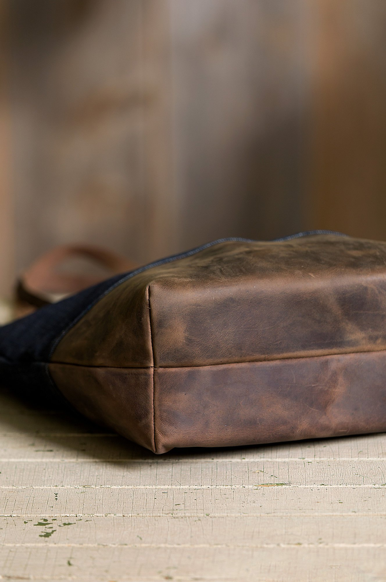 Overland Mills Denim and Leather Tote Bag by Overland Sheepskin Co (Image #5)