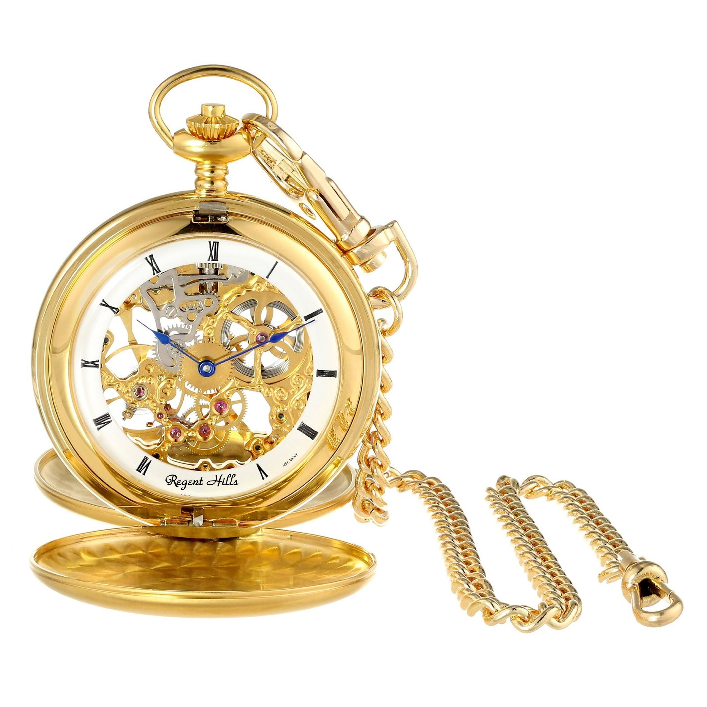 Regent Hills Vintage Gold Plated Mechanical Double Hunter Skeleton Pocket Watch With Chain 67528GP-W2