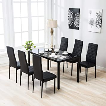 Groovy Mecor 7 Piece Glass Kitchen Dining Table Set Glass Top Table With 6 Faux Leather Chairs Breakfast Furniture Black Onthecornerstone Fun Painted Chair Ideas Images Onthecornerstoneorg