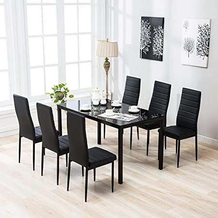 Review Mecor Dining Set, Glass Top Table with 6 Leather Chairs Kitchen Breakfast Furniture Black 7 Piece