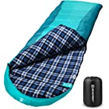 Bessport Sleeping Bag Winter   Flannel Lined 32℉Extreme 3-4 Season Warm & Cool Weather Adult Sleeping Bags Large   Lightweigh
