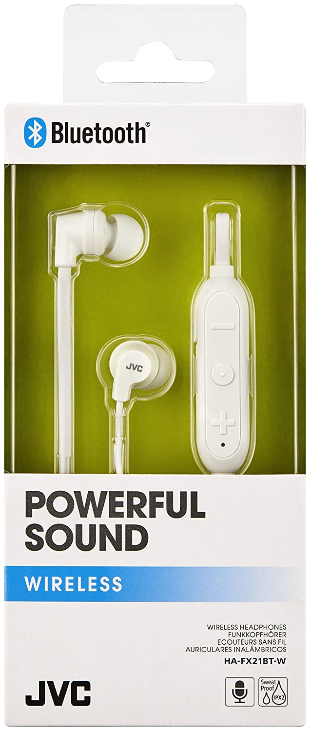 Amazon.com: JVC HAFX21BT Powerful Sound Wireless Bluetooth in Ear Headphones - White: Electronics