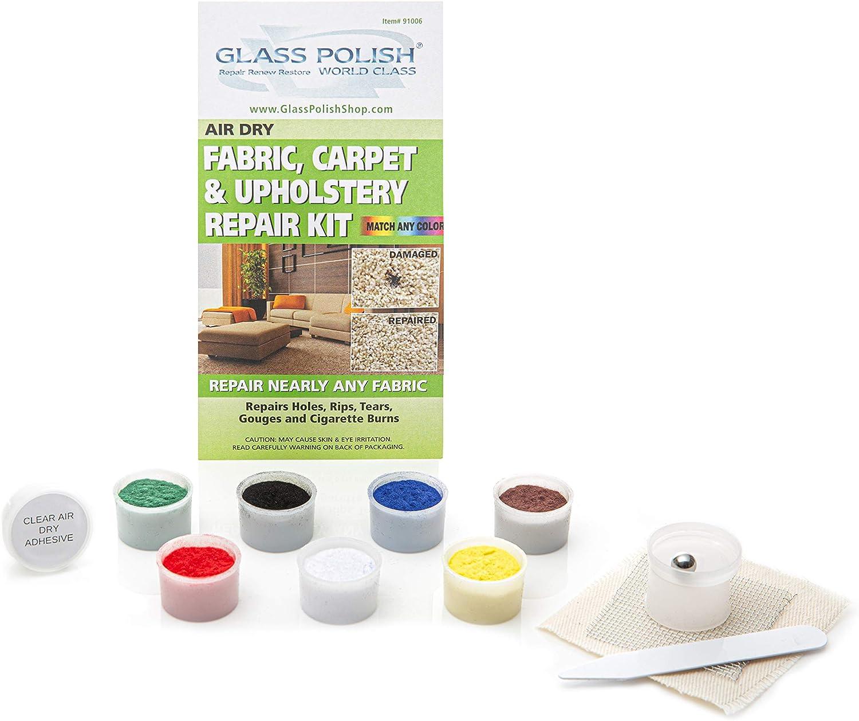 Amazon.es: Glass Polish Tela alfombras y tapicería Reparaciones - Kit de Bricolaje reparación pequeños Agujeros, Cortes, Fumar, rasguños, Marcas