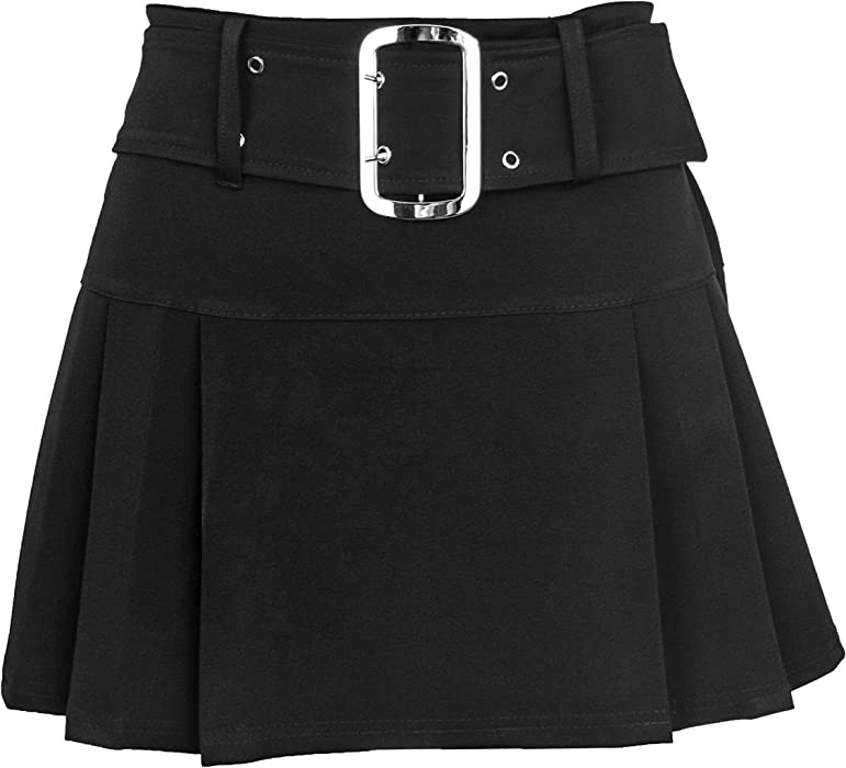 Ladies Womens Plain Black Buckled Skirt Short Mini Back Zip Side Pleated UK 6-16