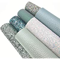 """ZAIONE 8"""" x 12""""(20cm x 30cm) Sheets Holographic Sparkle Chunky Mixed Glitter Faux Leather Colorful Multiple Styles…"""