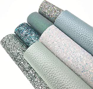 "ZAIONE 8"" x 12""(20cm x 30cm) Sheets Holographic Sparkle Chunky Mixed Glitter Faux Leather Colorful Multiple Styles Multiple Combinations Multiple Attributes Vinyl Fabric Craft Aqua Blue Series"