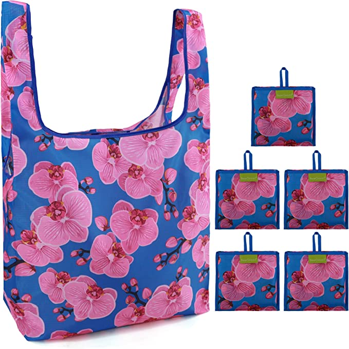 Reusable Grocery Shopping Bags Foldable 5 Pack Extra Large 50LBS Machine Washable Flower Pattern Tote bags Durable Lightweight Ripstop Nylon Fabric Orchid ...