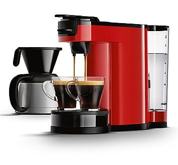 Senseo HD7892/80 - Cafetera (Independiente, Máquina de café en cápsulas, 1 L, Dosis de café, 1450 W, Negro, Rojo): Amazon.es: Hogar