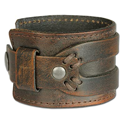 SilberDream Leather Bracelet Antic Brown with Rivets and Other Adornments - fits up to 8'' - LA4293B Nw7Rtnwl