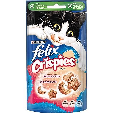 Purina Felix Party Mix Crispies Snacks, golosinas y chuches para gato Salmón y Trucha 8 x 45 g